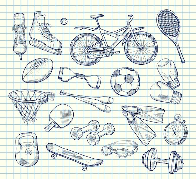 Equipo de deportes dibujados a mano en el cuaderno
