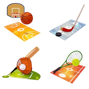 Equipo deportivo concepto conjunto