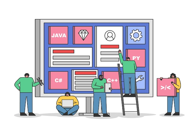 Equipo de desarrolladores web trabajando juntos en nuevos proyectos. codificación grupal de programadores para la interfaz del sitio web o el desarrollo de aplicaciones móviles