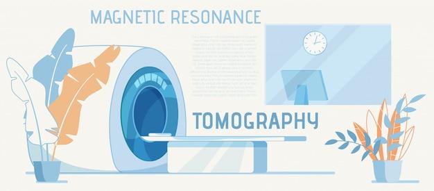 Equipo para diagnóstico de resonancia magnética anuncio de dibujos animados