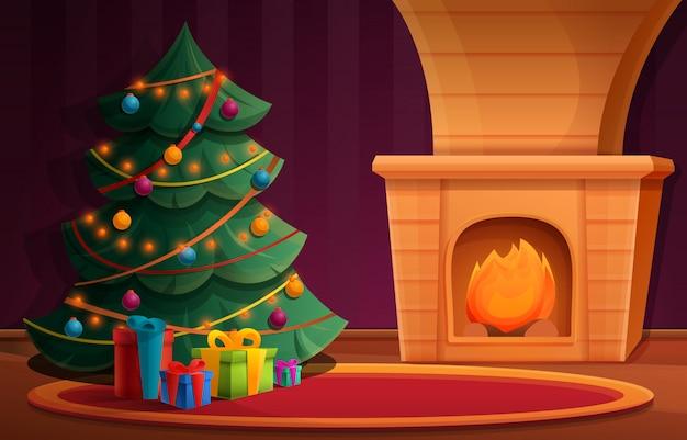 Equipo de dibujos animados con un árbol de navidad junto a la chimenea y regalos, ilustración vectorial