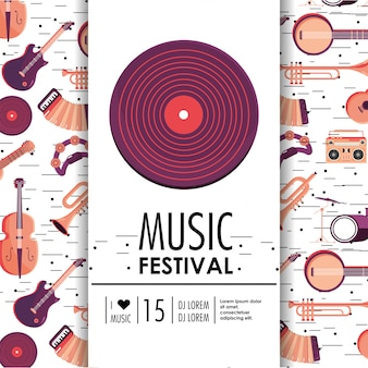 Equipo discoteca con instrumentos para festival de música.