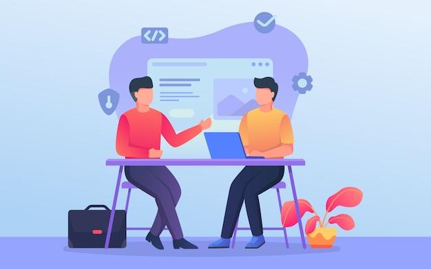 Equipo de discusión del programador o desarrollador cuando trabaja en la oficina con un tema de fondo relacionado