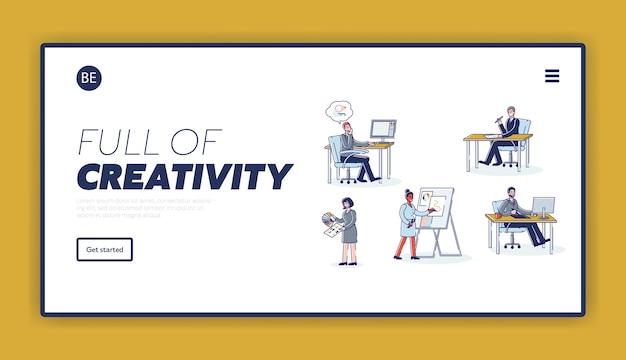 Equipo de diseñadores gráficos trabajando. página de inicio de desarrollo de aplicaciones móviles o sitios web creativos.