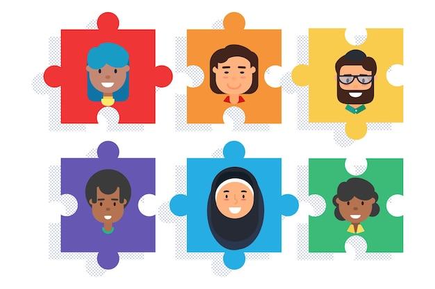 Equipo diverso en piezas de rompecabezas, diversidad y trabajo en equipo empresarial. ilustración de vector de diseño plano de concepto de comunicación y cooperación exitosa masculina y femenina multirracial