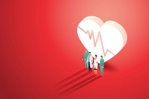 El equipo del doctor del grupo que coloca el latido del corazón delantero en rojo del fondo en la luz cae. ilustración médica