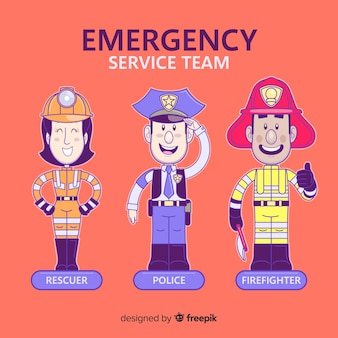 Equipo de emergencia dibujado a mano