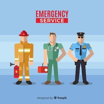 Equipo de emergencia en diseño flat