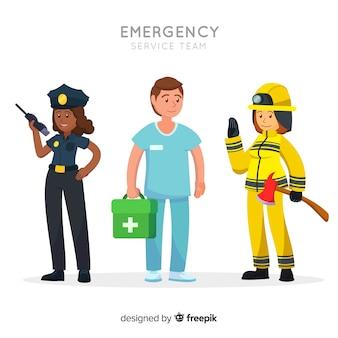 Equipo de emergencia en estilo flat