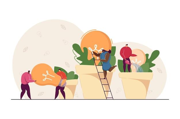 Equipo empresarial creciendo ideas como plantas en macetas