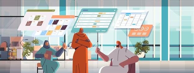 Equipo de empresarios árabes analizando datos estadísticos en tableros virtuales interior de oficina de concepto de trabajo en equipo exitoso