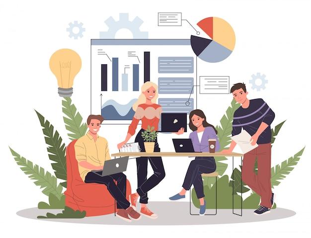 Equipo de empresarios discutiendo datos analíticos
