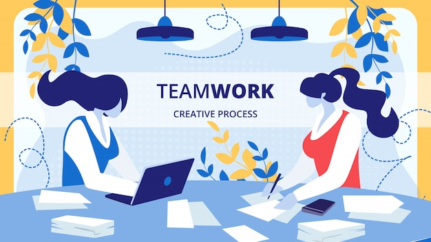 Equipo de empresarios proceso creativo vector banner