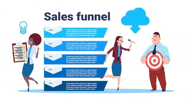 El equipo de empresarios tiene un formulario en blanco encuesta objetivo flecha datos nube embudo de ventas con pasos etapas infografía empresarial. concepto de diagrama de compra