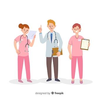 Equipo de enfermeras dibujadas a mano