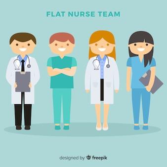 Equipo de enfermeras flat