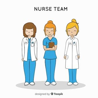 Equipo de enfermería dibujado a mano