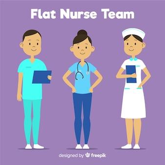 Equipo de enfermería en diseño plano