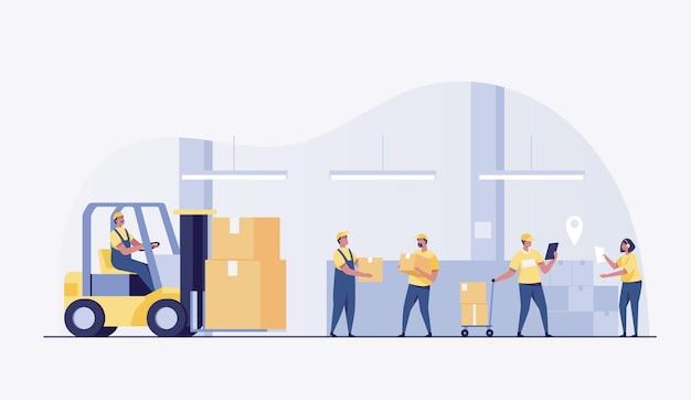Equipo de entrega. gran almacén move con caja. ilustración vectorial