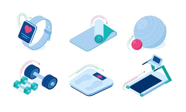 Equipo de entrenamiento deportivo casero y gadgets iconos vectoriales isométricos.