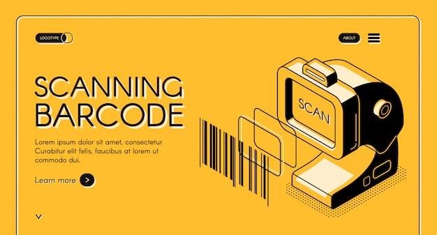 Equipo de escaneo de códigos de barras tienda web banner o sitio