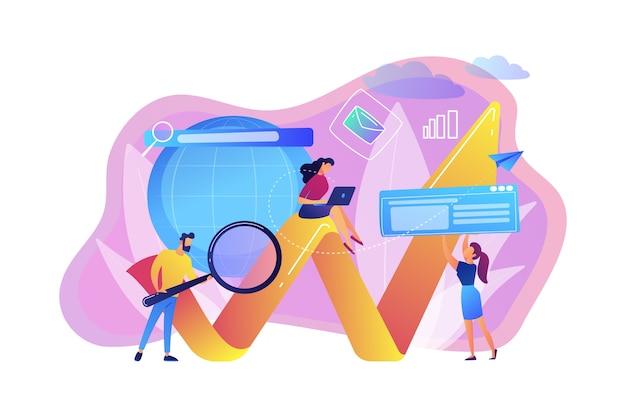 Equipo de especialistas con lupa y portátil y flecha. marketing digital, campaña de ppc, concepto de relaciones con el cliente