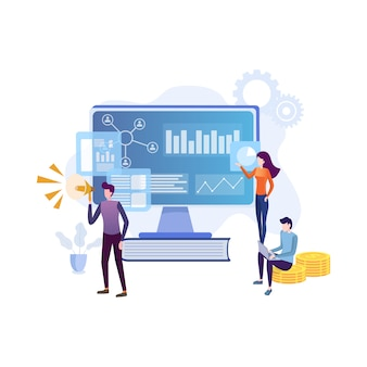 Equipo de especialistas que trabajan en estrategia de marketing digital.