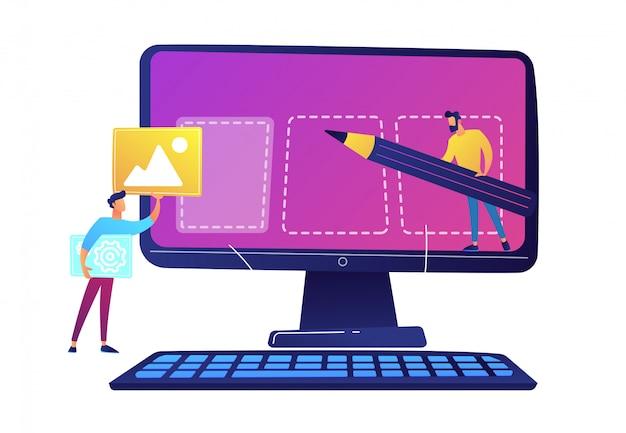 Equipo de especialistas de ti creando página web en la ilustración de vector de pantalla de computadora.