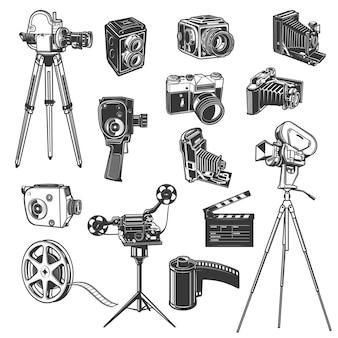 Equipo de estudio de cine, iconos retro de rodaje de películas