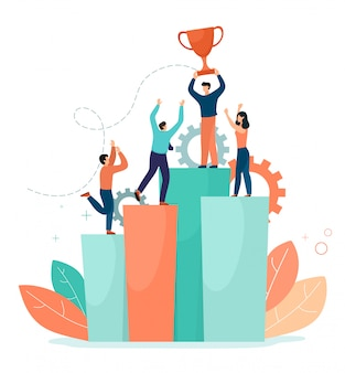 Un equipo exitoso se encuentra en las columnas de la tabla con una victoria exitosa, la copa. ilustración de negocios ilustración de estilo plano sobre un fondo blanco.