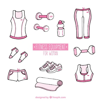 Equipo fitness rosa dibujado a mano