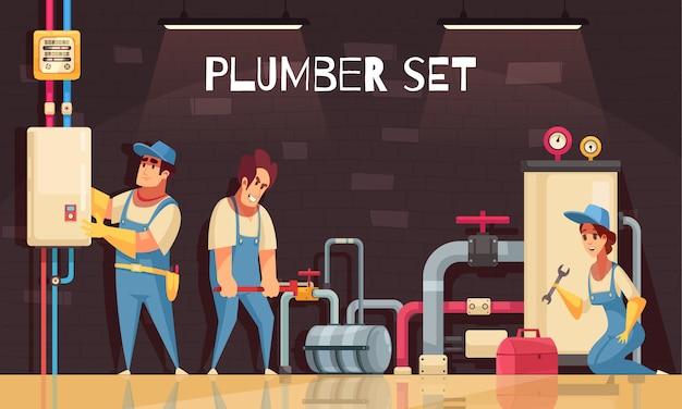 Equipo de fontaneros arreglando fugas en la sala de calderas composición de dibujos animados con medidor de gas caja de herramientas
