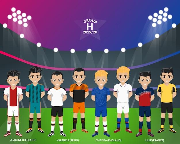Equipo de fútbol de fútbol del campeonato europeo grupo h