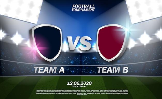 Equipo de fútbol de fútbol versus equipo con ilustración de campo de estadio