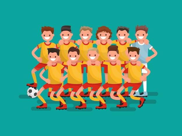 Equipo de fútbol. ilustración de once jugadores juntos