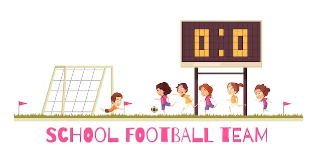 Equipo de fútbol del juego deportivo escolar en el campo de atletismo durante la composición de dibujos animados de partido sobre fondo blanco.