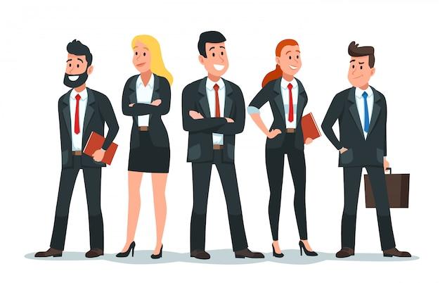 Equipo de gente de negocios. trabajo en equipo de oficina, grupo de trabajadores de finanzas profesionales y personajes de empresario ilustración de dibujos animados
