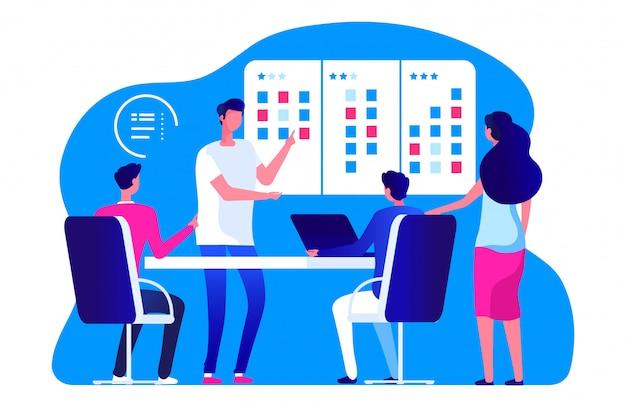 Equipo de gestión ágil. reunión del equipo de negocios de vector y tablero de tareas scrum. la gente está planificando el proceso de trabajo