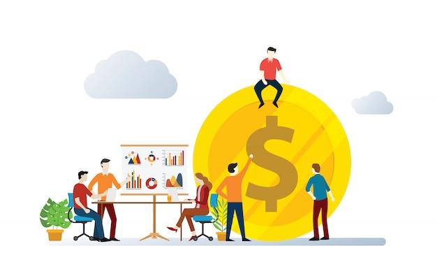 El equipo de gestión de inversiones discute en conjunto para crecer y aumentar la ilustración vectorial de negocios