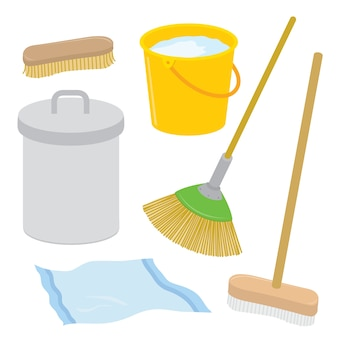 Equipo herramienta limpiador quehacer doméstico cepillo de basura cepillo escoba trapo cubo de dibujos animados