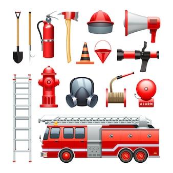Equipo de herramientas para bomberos.