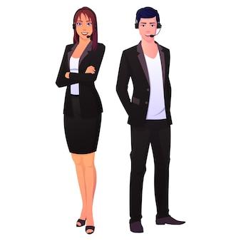 Equipo de hombre y mujer de soporte técnico de call center