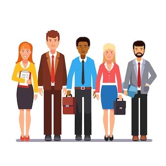 Equipo, hombres de negocios, mujeres, posición, juntos