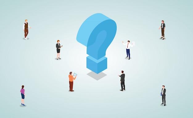 El equipo de hombres y mujeres de negocios trabaja para resolver problemas y encontrar soluciones con un estilo isométrico moderno.