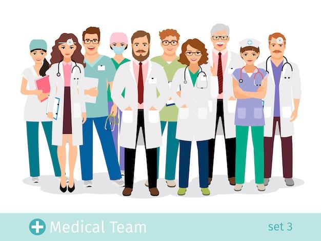 Equipo del hospital personal médico plano profesionales grupo en ilustración vectorial uniforme
