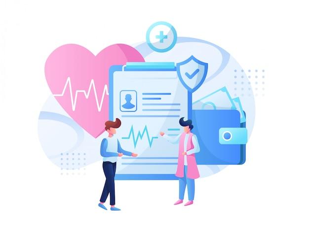 Equipo de ilustración médica y consulta de salud.