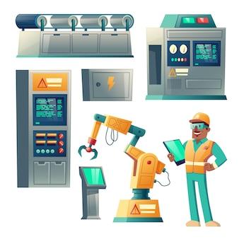 Equipo industrial, sistema de la historieta de las máquinas aislado en el fondo blanco.