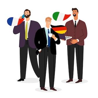 Equipo internacional de negocios masculinos sobre fondo blanco.