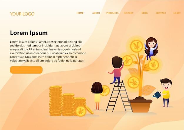 Equipo de inversión creciente con hoja de árbol con crecimiento de dinero de moneda de oro.