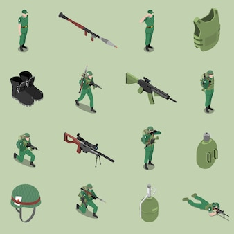 Equipo isométrico conjunto isométrico de casco armadura corporal rifles botines soldados frasco iconos aislados